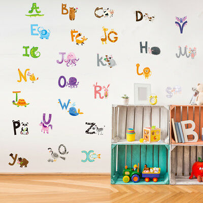 Animal Alphabet Kids Learning Wall Decal Sticker For Nursery Room Childrens Room