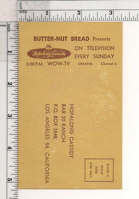 Vintage Hopalong Cassidy Troopers Club Application Card Butter-Nut Bread Promo