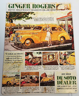 Ginger Rogers Drives Hollywoods Smartest Car Desoto Heavy Duty Metal Adv Sign