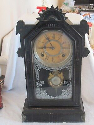 Antique W. Gilbert Shelf Clock Reverse Painted Glass Parts Or Repair