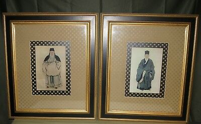 Beautiful Pair Of Chinese Robed Scholars Elders Portrait Framed