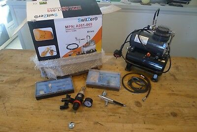SwitZer Double Action Airbrush Kit + Compressor With Tank Model Paint Nail Tatoo