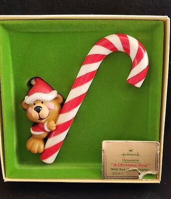Vintage Hallmark Tree Trimmer Collection Christmas Ornament 1979 Bear Candy Cane