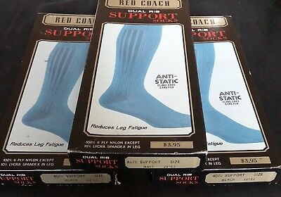 Lot of 3 Pairs Vintage RED COACH Men's Support Hose Nylon Socks 10-13 NOS 1970s