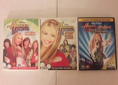 Lot of 3 Hannah Montana DVD's Pop Star Profile Life's What You Make It