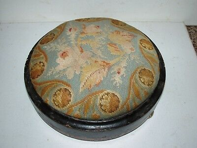 Antique One of a Kind Needlepoint RD Footstool w Inlaid Edging on Wooden Base
