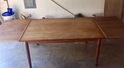 "Mid Century Modern Danish Teak Hidden Refectory Dining Table 57x35-1/2""- Expands"