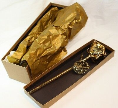 """Authentic Preserved Rose w/ 11"""" Stem dipped in 24k Gold w/Box"""
