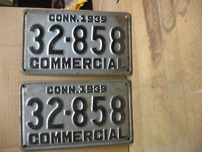 1939 CONNECTICUT o Pair License Plates Tags  CONN. 1939   32 – 858  COMMERCIAL