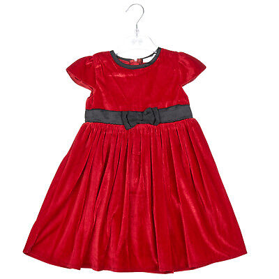Baby Girls dress- RED VELVET- Traditional Style with Bow Detail-3-6,6-12,12-18..