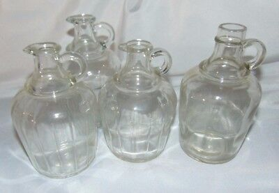 Vintage Mixed Lot of 4 Clear GLASS Syrup Vinegar JUGS with Handle