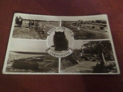 1950 Postcard Good Luck from Carnoustie  Angus (4 Views)
