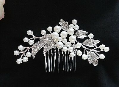 Wedding Rhinestones Crystal Diamante Vintage Pearls Bridal Hair Comb Headpiece