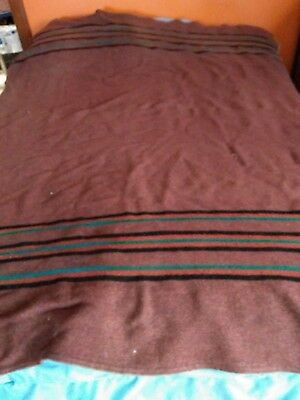 """Vintage Wool or Acrylic Striped Camp Blanket 58"""" by 74"""""""