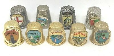 9 Vintage Crested Metal Thimbles:London. New York. LA. Miami. and More.Perfect!