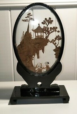 Vintage Chinese SAN YOU Cork Carking Diorama in Lacquered Frame