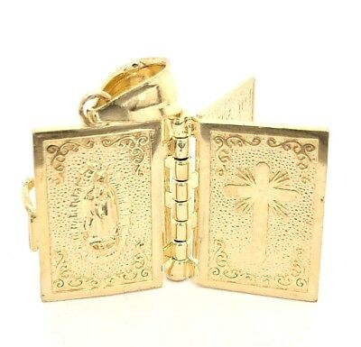 4d332388a15 14K YELLOW GOLD Holy Bible Charm Pendant Padre Nuestro Lord s Prayer ...