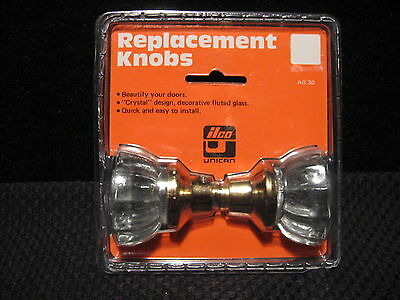 """Ilco Unican Fluted Crystal Glass 2"""" Round Replacement Door Handle Knobs AG-30"""