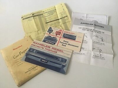 OWNERS GLOVE BOX PACKAGE 1967 RAMBLER AMC OWNERS MANUAL, 'CAR PAPERS' Envelope