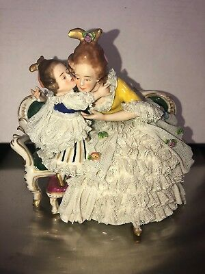 "Antique Vintage 5 1/2"" Lady And Girl Figurine Porcelain Lace Dresden Germany"