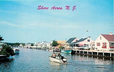 New Jersey Postcard: Boating On A Lagoon At Shore Acres, Nj