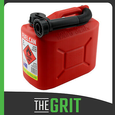 Red 5L Jerry Can Squat Style Portable Red Plastic Petrol Fuel Container