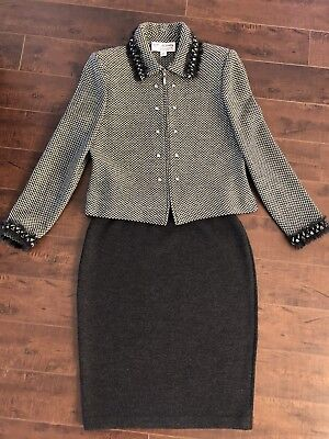 ST JOHN Collection Marie Gray Two Piece Suit Skirt Jacket Blazer Size XS 2 $1560