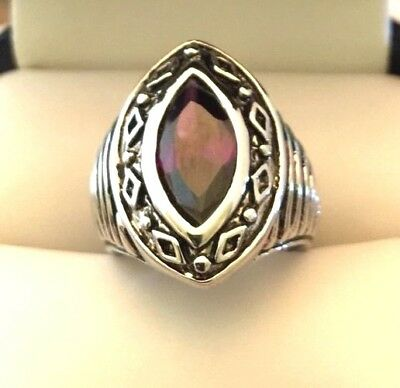 Designer Statement Ring Amethyst Purple Stone Antique Silver Vintage Couture r9O