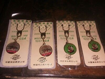 VINTAGE LOT OF 4 CAAC AIRLINES KEYCHAIN Civil Aviation Administration of China