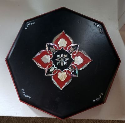 Vintage Asian  Black Lacquer Ware Divided Box Beautiful Shell Star Design 10 In