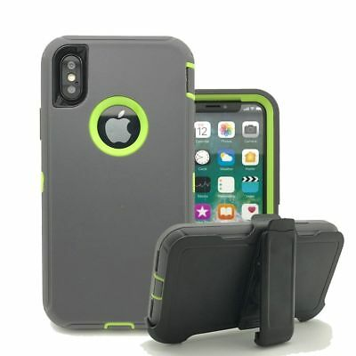 For Apple iPhone XS/XR/XS MAX,Defender Shockproof Case w/ Clip Fit Otterbox Gray
