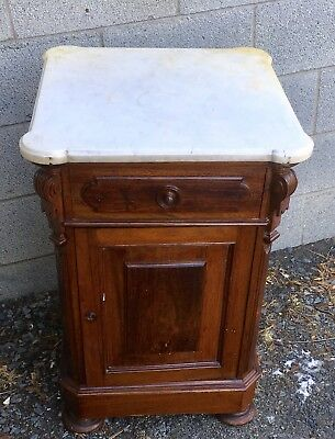 Victorian Walnut Marble Top 1/2 Commode