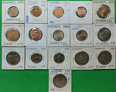 Lot of 16 Different Guernsey Coins 1971-2012 British Channel Islands Many UNC !!