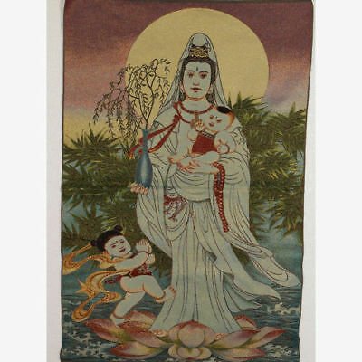 Tibet Collectable Silk Hand Painted Send Child Kwan-yin Thangka