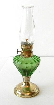 "Vintage Emerald Green Glass Oil Lantern With Clear Globe Nice Miniature 10"" Tall"