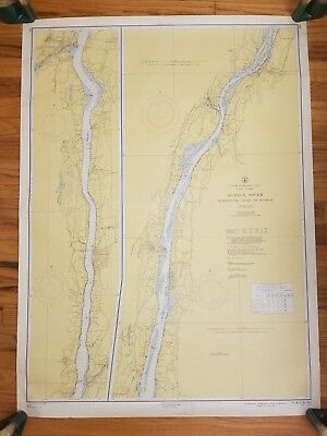 "Vintage 1956 HUDSON RIVER Wappinger Creek to Hudson WALL MAP 43"" Soundings Feet"
