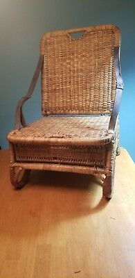 Authentic Vintage Wicker Folding Canoe Chair Leather Straps
