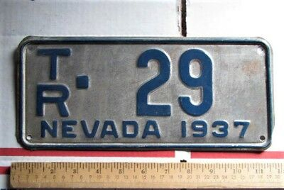 Vintage 1937 Nevada License Plate TR -29 Trailer Car Auto Truck Automobile Metal