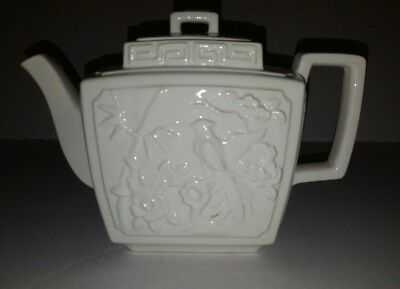 Vintage Classic White Rectangle Porcelian Teapot Japan with Bird Design