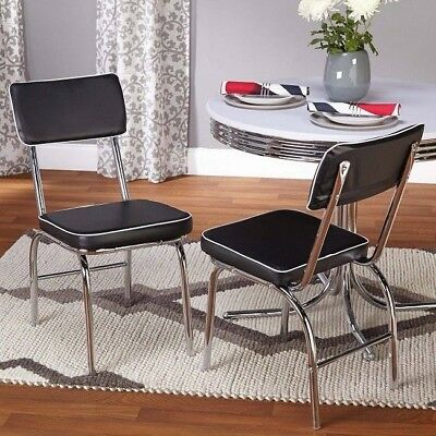 Kitchen Dining Chairs Midcentury Retro Diner Vintage 50's Set 2 Chrome Black