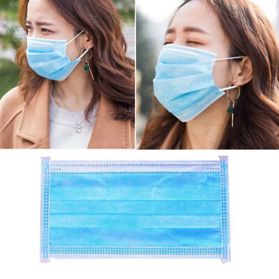 50x  3-Ply Ear Loop Disposable Surgical Medical Flu Face Mask Bacterial F Gift