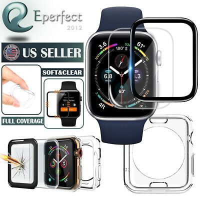 3D Full Cover Screen Protector Soft Clear Case fr Apple Watch Series 4 40mm 44mm