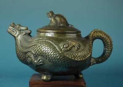 Chinese Old Hand Carving Copper Dragon Statue Teapot /qianlong Mark D02