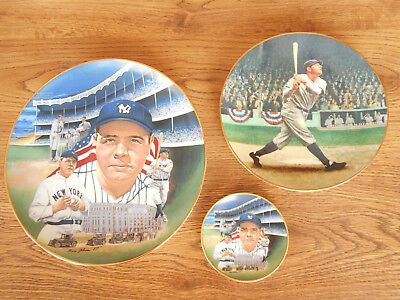 """Lot of 3 Babe Ruth Limited Edition """"Collectors Plates - 10"""", 8"""" & 4"""""""