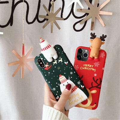 Christmas Snowman Santa Protective Phone Case Cover for iPhone X 6 6s 7 8 Plus