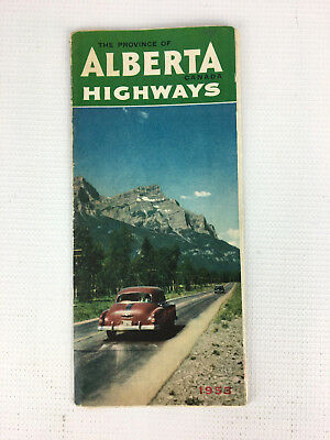 Vintage 1953 The Province of Alberta Canada Highways Road Map