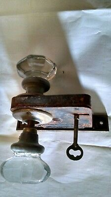 Vintage Antique Clear Crystal 8 pt Glass Door Knobs with square latch and key.