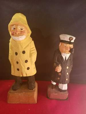 """Vintage Wood Wooden Hand Carved Collectible Two Sea Men 6.25"""" 5""""Tall"""