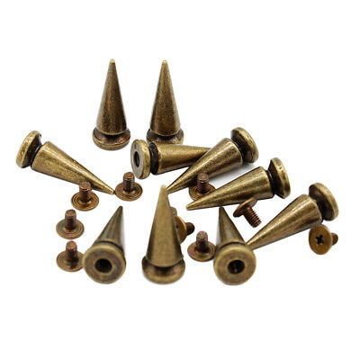 10 Sets Bronze Screw Bullet Rivets Spike Studs Spots DIY Rock Punk 10x25mm