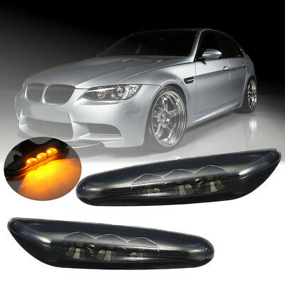 LED Side Marker Light Turn Signal Black For BMW E60 E61 E82 E88 E90 E91 E92 E93